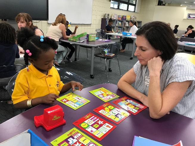 Woman teaching little girl