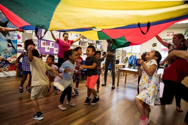 Kids dancing and smiling